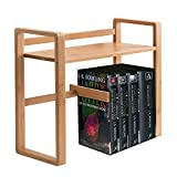 GREFIC Estantería minimalista libros de bambú Organizador de escritorio con ajustable sujetalibros librerías de oficina pequeña/natural estantería infantil para niños 56×19×39cm