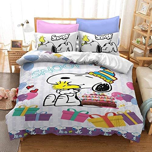 QWAS Juego de cama con diseño de Snoopy, 3 piezas, 1 funda nórdica y 2 fundas de almohada, funda nórdica con estampado 3D, sábana infantil (R1,220 x 240 cm + 80 x 80 cm x 2).
