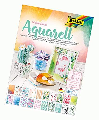 folia 48749 - Motivblock Aquarell, 20 Blatt, ca. 24 x 34 cm, 270 g/qm, sortiert in 20 verschiedenen Motiven - zum Basteln und kreativen Gestalten von Karten, Fensterbildern und für Scrapbooking