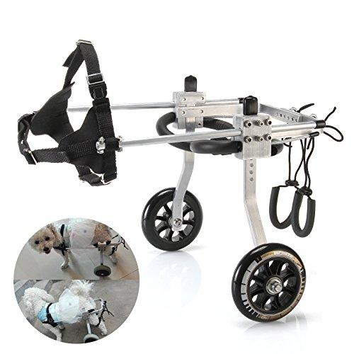 Anmas Sport Verstellbarer Hunderollstuhl für kleine Hunde (XS), Gewicht 5 bis 9 kg, Rehabilitation der Hinterbeine, geringes Gewicht (S)