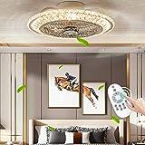 LED Ventilador de Techo con luz, Circular Lámpara de techo cristal, Silencioso Regulable Iluminación de Ventilador con mando a distancia, 3 Velocidade Adjustable, 1/2/4 H Temporizador, 72W, Φ50 * 28cm