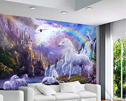 Tapeten wohnkultur Blauer himmel regenbogen einhorn tapete schlafzimmer landschaft ölgemälde tapeten für kinderzimmer, 200 * 140