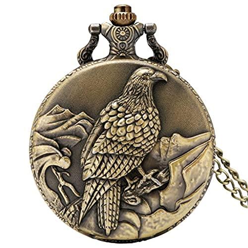 SGSG Vintage Old Eagle Display Reloj de Bolsillo de Cuarzo Collar de Bronce Cadena Exquisito Reloj de Bolsillo Regalo Hombres Mujeres