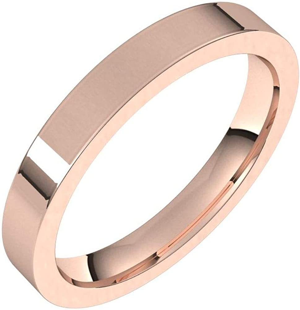 Solid 18k Rose Gold 3mm Flat Comfort Fit Wedding Band Ring Mens Heavy Thick Classic Plain Traditional - Size 9.5