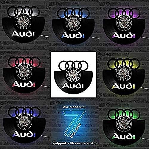 clockfc WanduhrVinylaufzeichnung Wanduhr Auto Logo Vinylaufzeichnung Wanduhr 3D Dekorative Hängende Vintage Uhr LED Wanduhr Wohnkultur Geschenk für Auto Liebhaber @ Audi-7_Led_Change