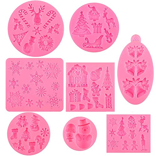 Navidad Moldes de Pastel de Silicona Fondant, 8 piezas 3D Molde de Navidad Copo de Nieve Moldes Árbol de Navidad Molde para...