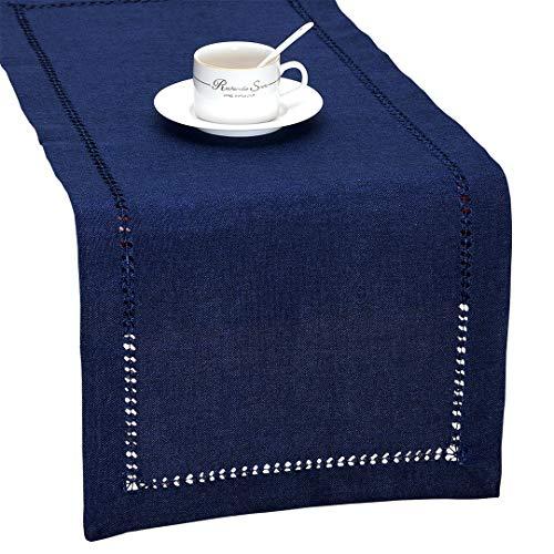 Grelucgo Handmade Hemstitch Solid Navy Blue Nautical Rectangular Table Runner Or Dresser Scarf (14 x 48 Inch)