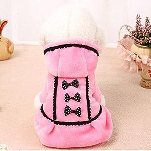 LINGERY Cute Dog Coat Jacket Pet Supplies Clothes Winter Apparel Puppy Costume (Pink, XXS)