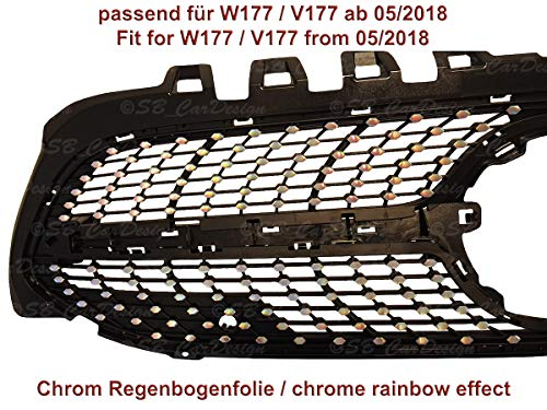 Diamantgrill Folien Sticker für Mercedes A-Klasse W177 V177 AMG Grillaufkleber (Chrom Regenbogen Effekt)