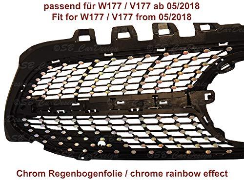 SB CarDesign Diamantgrill Folien Sticker für Mercedes A-Klasse W177 V177 AMG Grillaufkleber (Chrom Regenbogen Effekt)