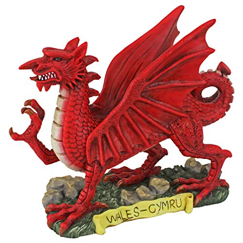 Design Toscano Der rote Waliser Drachenstatuen-Sammlung, Polyresin, Vollfarbe, Klein