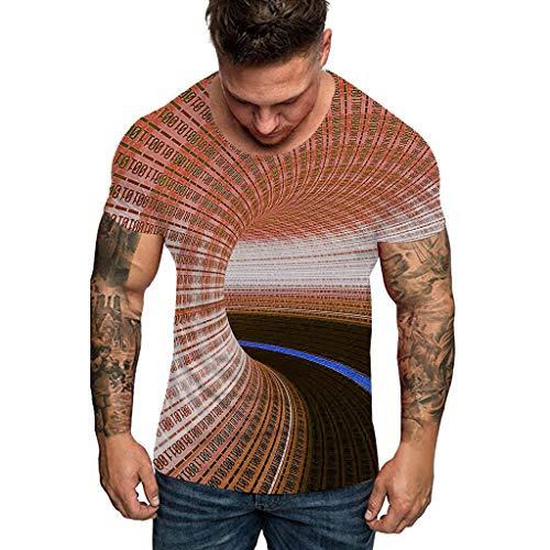 YAYAKI T-Shirt mit Rundhalsausschnitt Herren Mode 3D Brief Schwindel Drucken Kurzarm Rundhals Tops Freizeit Bequem Shirt Streetwear Multicolor Multicode Groß Größe S-3XL (Kaffee,M