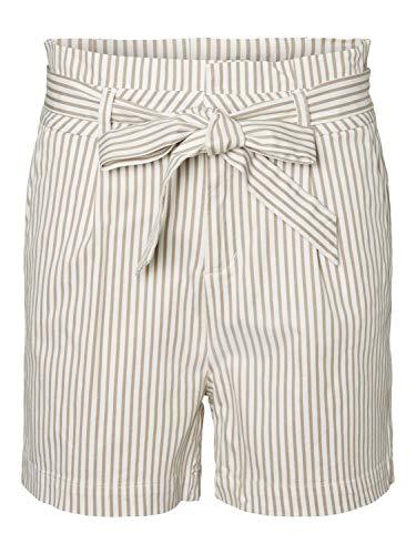 VERO MODA Damen VMEVA HR Paperbag COT PS Shorts NOOS GA Bermudas, Snow White (Stripes:Silver Mink), M