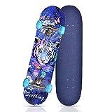 Skateboard Zhong, Skateboard Professionnel De 31 Pouces avec Roues LED, Adapté Au Skateboard pour Enfants, Filles, Garçons, Adolescents Et Adultes. (Tigre Coloré (Roue Clignotante))