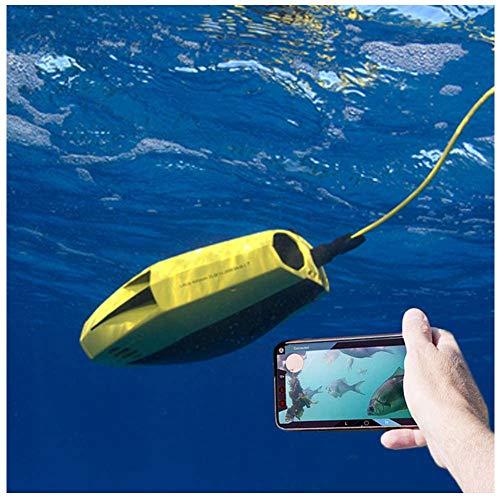 AHELT-J Drone Submarino Portátil, Lente 4K HD de 15 Metros de Profundidad con Control Remoto, Buceo Submarino de Aventura, Tiro, Regalos de Pesca, Robot Submarino (Color : Deluxe Edition)