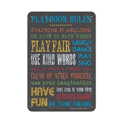 Reglas de la sala de juegos de metal, aspecto retro, 20 x 30 cm, decoración de manualidades, letrero para el hogar, cocina, baño, granja, jardín, divertido decoración de pared