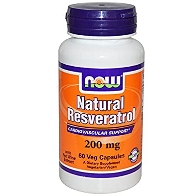 NOW Foods Natural Resveratrol with Red Wine Extract, 200mg - 60 vcaps
