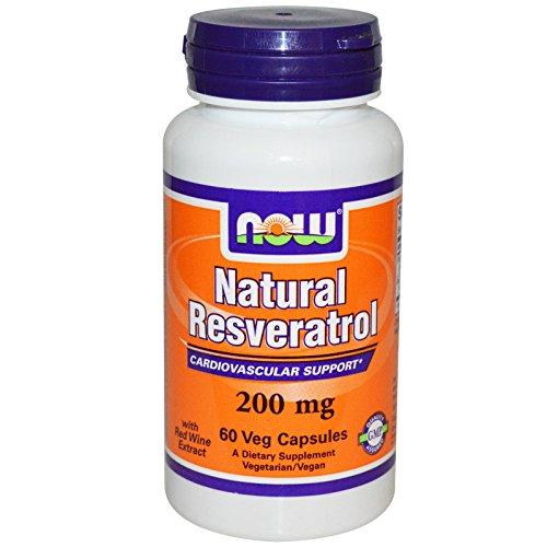 NOW Foods Natuurlijke Resveratrol met Rode Wijn Extract, 200mg - 60 vcaps