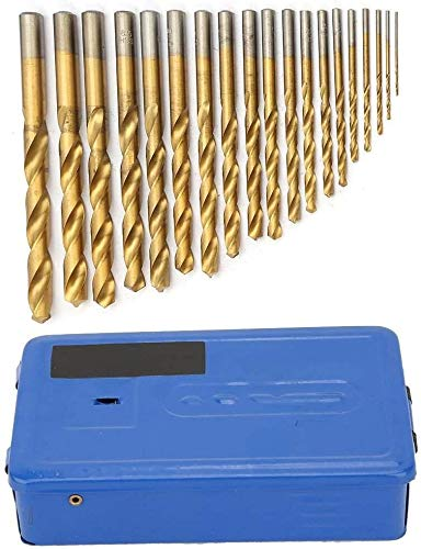 19 Pieces 1mm-10mm HSS Twist Drill Bit Set for Titanium and Cobalt Drill, Portable Industrial Use Tool Stainless Steel, Copper, Iron, Aluminium, Gold