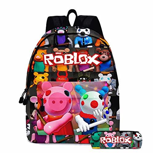 Suyaluoi Mochila infantil Roblox Piggy para niños, mochila escolar y estuche, 2 unidades para Youtuber PS4 Gaming Chica, Diseño 1, M