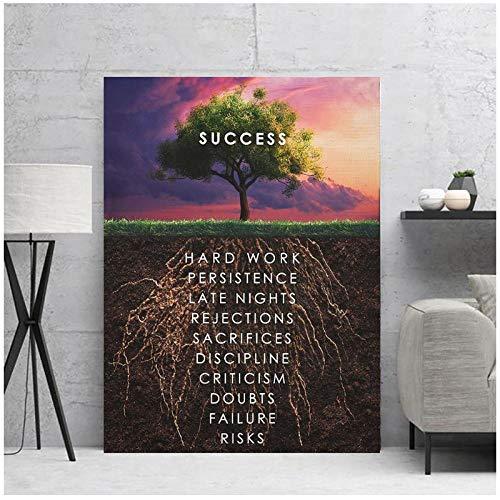 zhaoyangeng inspirerende succesvolle verf en canvasafdrukken Hd slaapkamer decor canvas schilderij kunstdruk - 60 x 80 cm zonder lijst