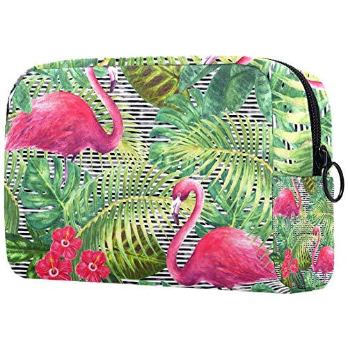Borse per il trucco Custodia multifunzione per organizer per cosmetici da viaggio portatile Flamingo foglie verdi rami e fiori con borse da toilette con cerniera per donna