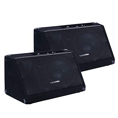 """Sound Town 2-Pack Powered DJ PA Stage Monitor Speakers METIS-10MPW-PAIR 10"""" 300W with Compression Driver for Live Sound, Bar, Church"""