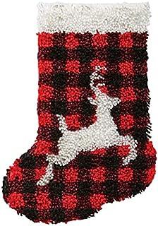 X-xyA Latch Hook Kits DIY Christmas Stockings with Pattern Printed Shaggy Christmas Decoration Ornament Bag Christmas Tree...