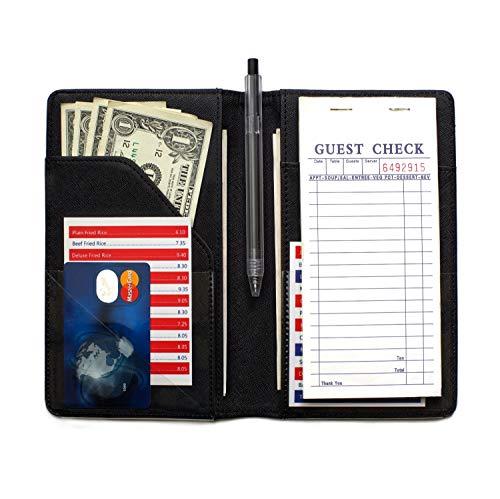 Server Book for Waiter, 4.7x7.5 Waitress Book, Server Wallet, Waiter Book for Servers, Guest Check Holder Fit Apron Pocket (Black)