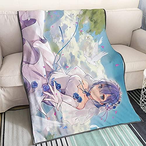 Bradioni Re: Life In A Different World From Zero Rem Wedding Dress 4 Anime Cartoon Coperta Modello Unico Modello Preferito di Otaku Prodotto Siesta Divano Aria Condizionata Coperta 100×125CM