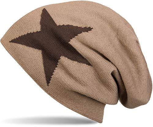 styleBREAKER warme Klassische Strick Beanie Mütze mit Stern und sehr weichem Innenfutter, Unisex 04024026, Farbe:Braun