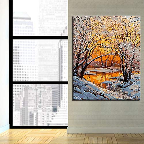 Rahmenlose Malerei Digitale Ölgemälde Presse Digitale Schneelandschaft Waldmode Moderne Wandkunst Bilder Home DecorationCGQ8439 40X50cm