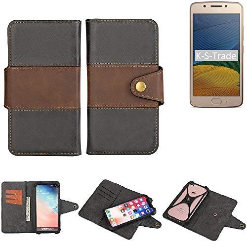 K-S-Trade Handy-Hülle Schutz-Hülle Bookstyle Wallet-Hülle Für Lenovo Moto G5 Single-SIM Bumper R&umschutz Schwarz-braun 1x