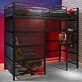 X Rocker Battle Den Gaming Bed High Sleeper Bunk with Storage, TV Mount, Ladder, Single 3ft Kids Loft Bed, Black, Metal Frame