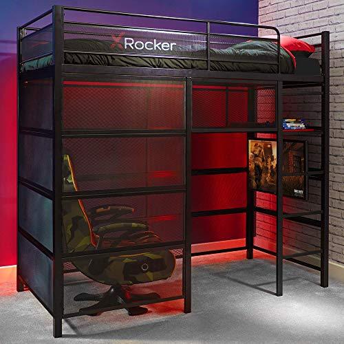 X Rocker Battle Den Gaming Bed High Sleeper Bunk with Storage, TV Mount, Ladder,...