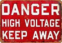 危険高電圧を避けてください 金属板ブリキ看板警告サイン注意サイン表示パネル情報サイン金属安全サイン