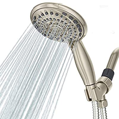"""5"""" Premium 5 Settings Shower Head Handheld Brushed Coating Finished , Anti-Clog Hand Held Showerhead for the Ultimate Shower Experience"""