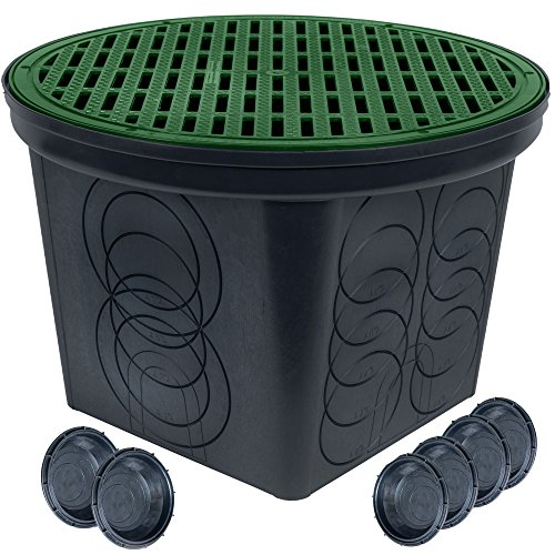 StormDrain FSD-3017-20BKIT-6-GRN 20-in. Large Round Catch Basin with Green Grate Kit