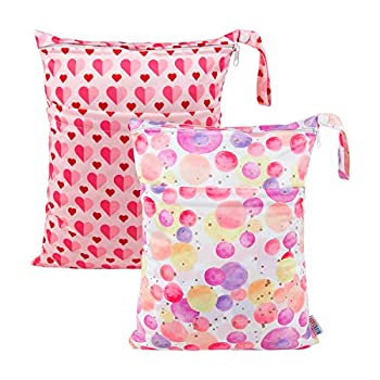 ALVABABY 2pcs Cloth Diaper Wet Dry Bags Waterproof Reusable with Two Zippered Pockets Travel Beach Pool Daycare Soiled Baby Items Yoga Gym Bag for Swimsuits or Wet Clothes LZ0102