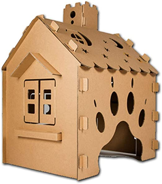 Cardboard Playhouse for Kids To Colour Can Be Painted with Wax Felt Pencils And Crayons Boys Girls Gift,A JLCP Play House for Child Outdoor