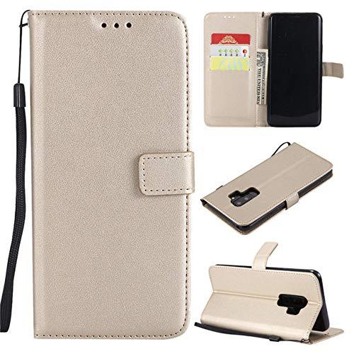 SMZNXF Carcasa de telefono,Funda de Cuero para teléfono para Samsung Galaxy A6 A8 Plus J2 J4 J6 J8 J1 J3 J5 J7 2016 A7 A3 A5 2017 Flip Wallet Card Holder Cover, Dorado, J2 Pro 2018