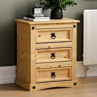Vida Designs Corona Bedside Chest, 3 Drawer, Solid Pine Wood