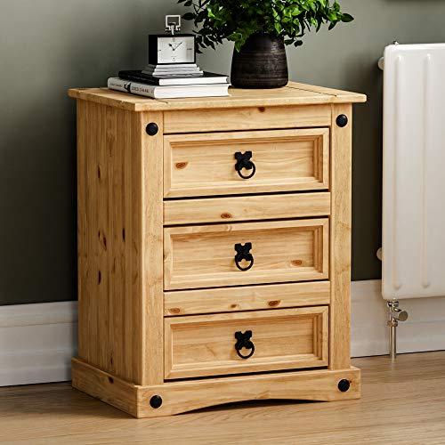 Amazon Marke - Movian Corona 3 Schubladen Nachttisch Distressed Waxed Solid Pine Tisch, Holz