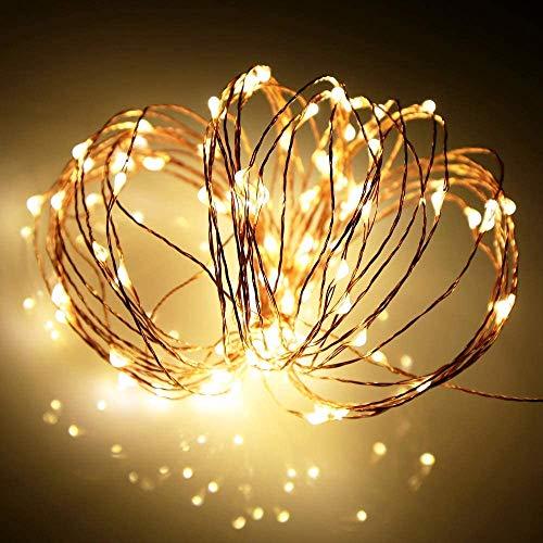 Guirnaldas luminosas impermeables de cobre, 10 m, 100 ledes, cadena de luces a pilas LED, hilo de cobre, guirnalda colgante para casa, boda, Navidad decorativa (luz alambre de cobre, 10 m/100 LED)