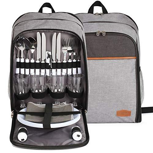 Mochila de picnic para 4 personas con vajilla – Set de picnic con bolsa refrigeradora – Bolsa de almuerzo aislante con correa acolchada para el hombro – Bolsa térmica para picnic y viajes