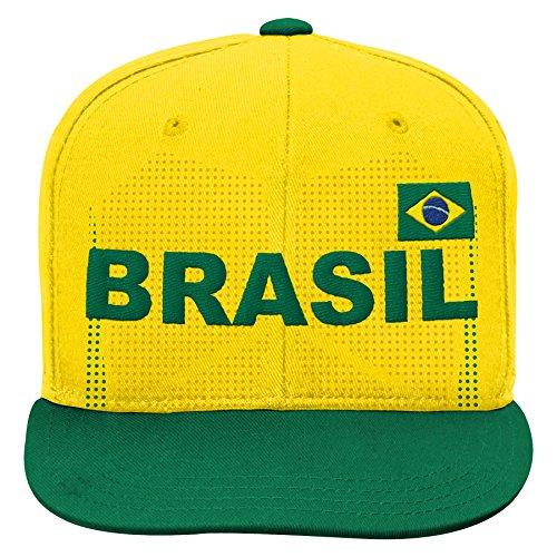 World Cup Soccer Brazil Mens -Jersey Hook Flag Snapback, White, One Size