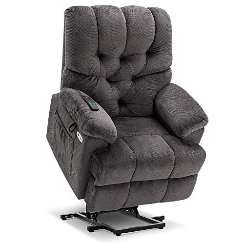 Mcombo Electric Power Lift Recliner Chair with Extended Footrest for Elderly People, 3 Positions, Wide Legrest, Hand Remote Control, USB Ports, 2 Side Pockets, Fabric 7575 (Grey)