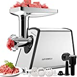 Meat Grinder Electric, Sausage Stuffer Maker, Max 2600W Food Grinder, Meat Mincer Machine with Attachments Sausage Tube Kubbe Kit Blades 3 Plates for Home Kitchen Commercial Use