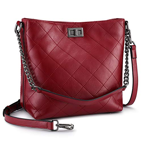 S-ZONE Women Crossbody Shoulder Bag Leather Bucket Hobo Handbag Work Tote Purse(Wine Red)