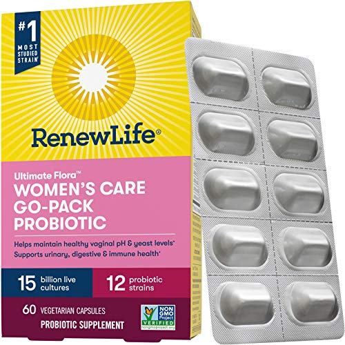 Renew Life Women's Probiotic - Ultimate Flora Women's Care Go-Pack Probiotic Supplement - Shelf Stable, Gluten, Dairy & Soy Free - 15 Billion CFU - 60 Vegetarian Capsules (Packaging May Vary)